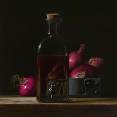 Contemporary Hyper Realist Acrylic Painting : Red Onions