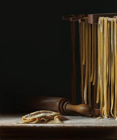 Contemporary Hyper Realist Acrylic Painting : Pasta Drying Rack