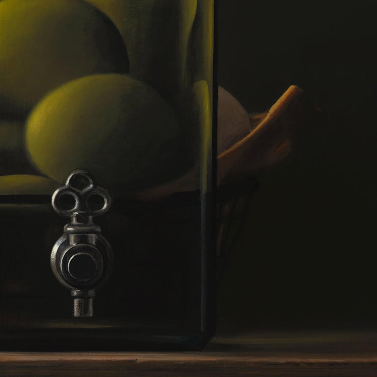 Contemporary Hyper Realist Acrylic Painting : Oil With Eggs For Sale 2
