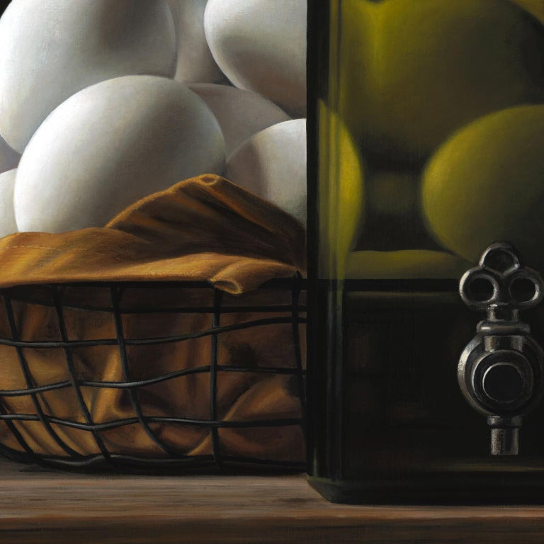 Contemporary Hyper Realist Acrylic Painting : Oil With Eggs For Sale 3