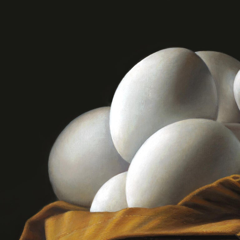 Contemporary Hyper Realist Acrylic Painting : Oil With Eggs Heidi von Faber  Those who enjoy soothing and powerful still lifes will certainly appreciate Heidi von Faber's work. The artist from The Hague paints still lifes in which the influence of