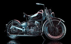 Contemporary Hyper Realist Oil Painting : Clear Blue Motorcycle