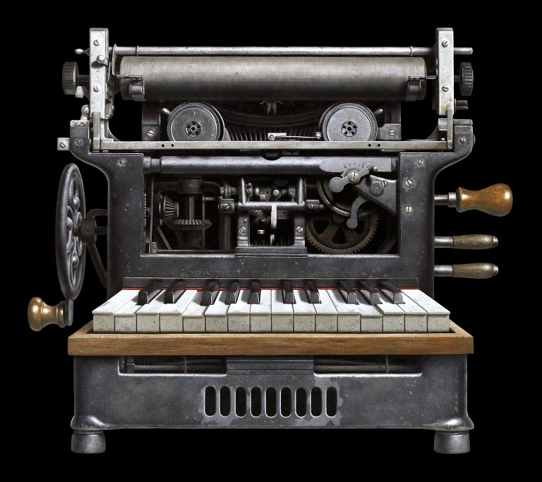 Jeff Bartels Figurative Painting - Contemporary Hyper Realist Oil Painting : Printing Press Piano