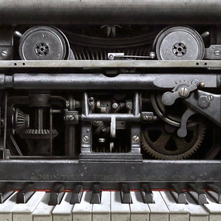 Contemporary Hyper Realist Oil Painting : Printing Press Piano For Sale 3