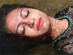 Contemporary Hyper Realist Acrylic Painting: Washing Away My Sorrows III