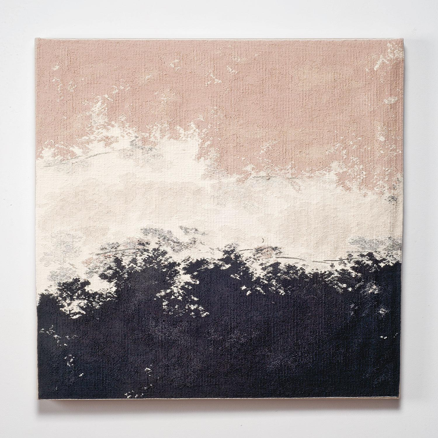 Broken White Band with Pink, Contemporary Abstract Tapestry, Textile Sculpture