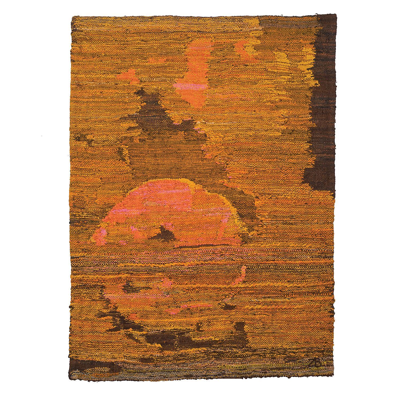 Sandstorm, Post-Modern Abstract Landscape Woven Tapestry, Textile Sculpture