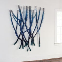Tube Waves, Abstract Contemporary Blue Woven Wall Sculpture, Marianne Kemp