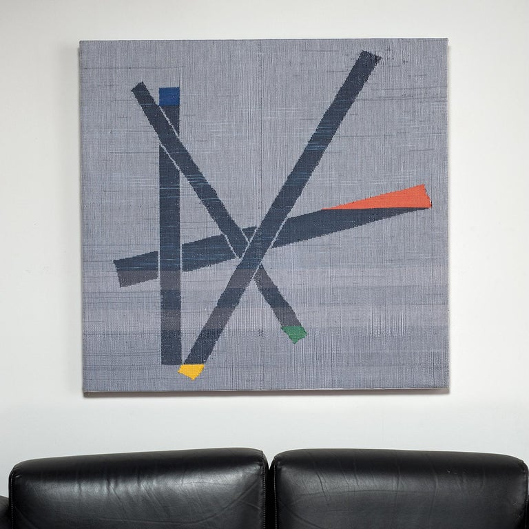Ethel Stein Abstract Sculpture - Angled Constructions, Contemporary Abstract Geometric Textile Wall Tapestry