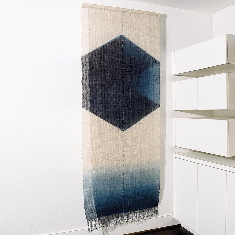 Shindigo Space II, Hand-dyed Japanese Textile Wall Hanging by HiroyukiShindo For Sale 1