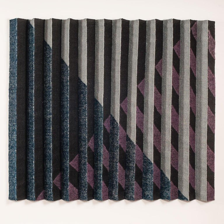 Adela Akers Abstract Sculpture - Midnight, Contemporary Geometric Tapestry, Textile Wall Sculpture