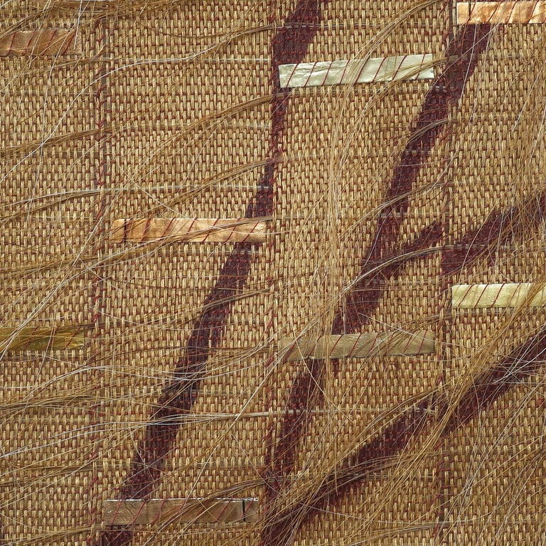 Landscape Transformed, Contemporary Abstract Tapestry, Textile Wall Sculpture - Brown Abstract Sculpture by Adela Akers