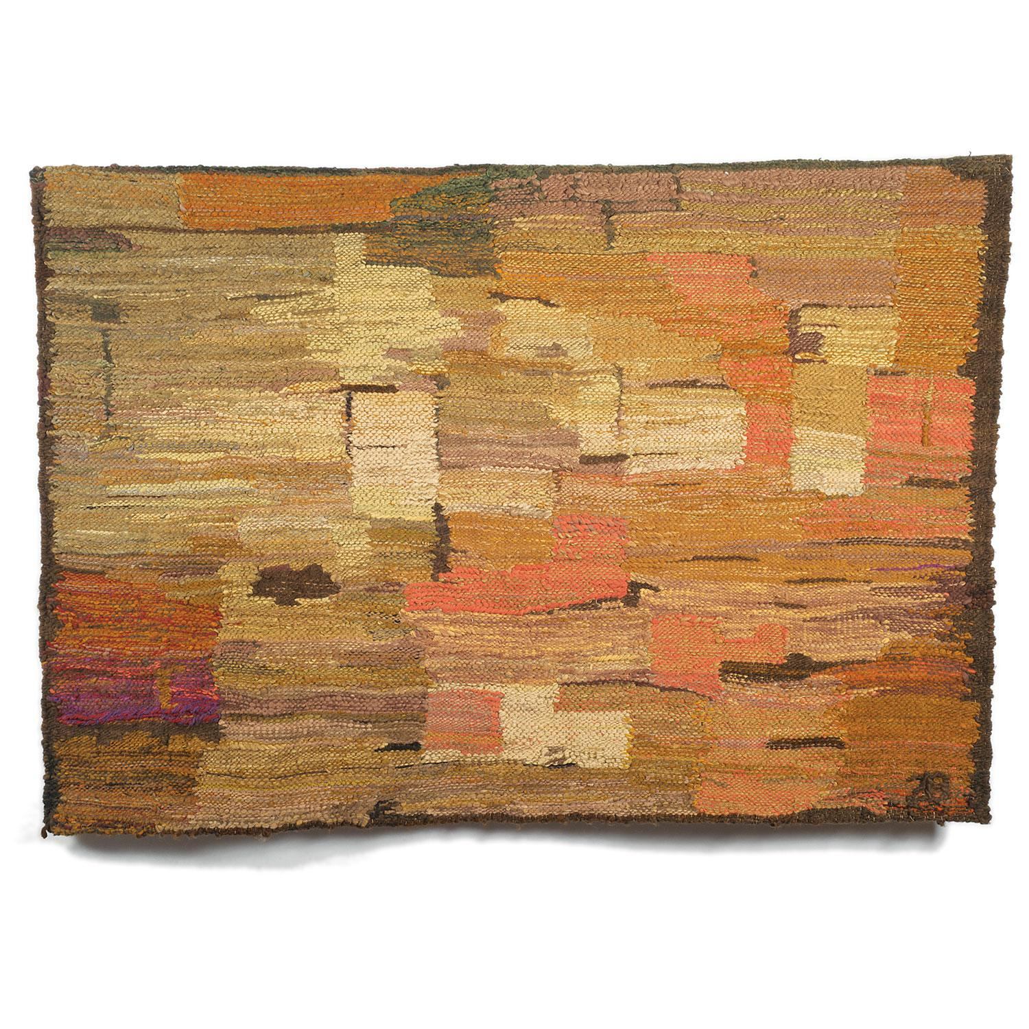 Rocks, Post-Modern Abstract Landscape Woven Tapestry, Textile Sculpture