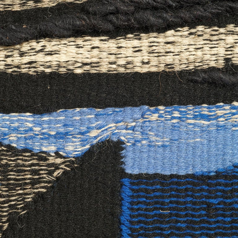 Wings, Mid-Century Abstract Woven Tapestry, Blue Textile Wall Sculpture, Hand dyed wool hand dyed wool,73