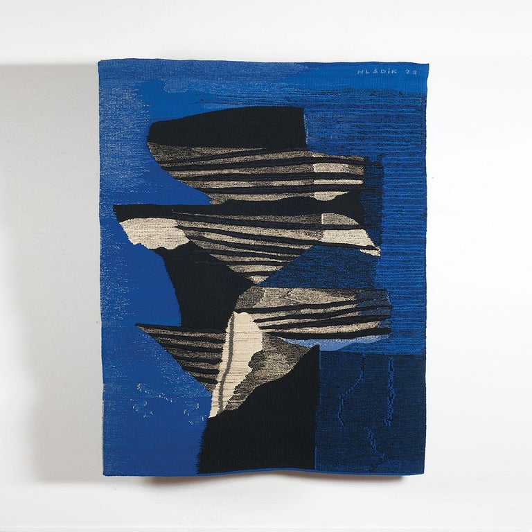 Wings, Mid-Century Abstract Woven Tapestry, Blue Textile Wall Sculpture For Sale 1