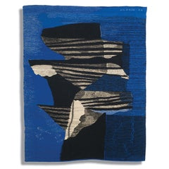 Wings, Mid-Century Abstract Woven Tapestry, Blue Textile Wall Sculpture