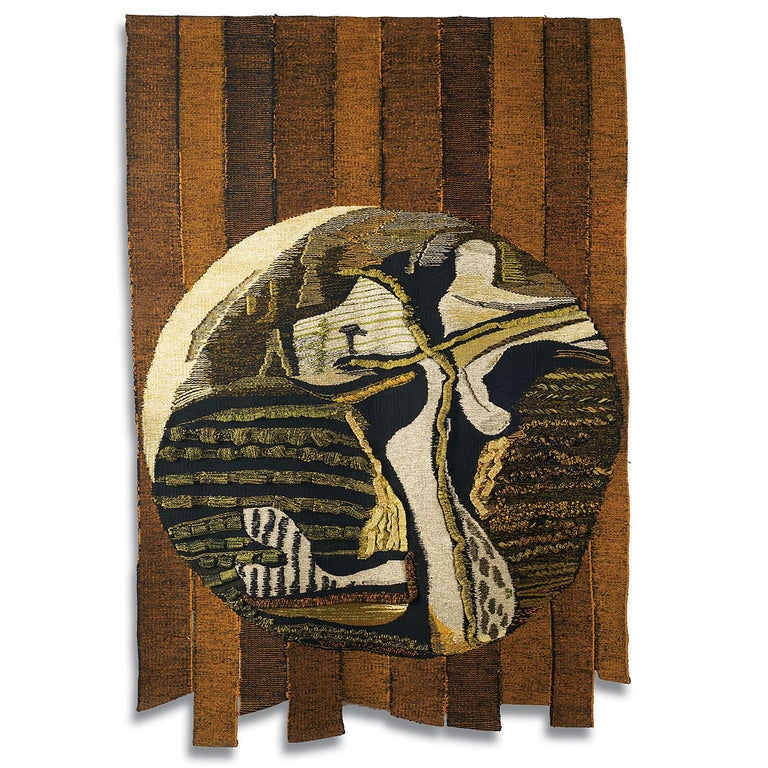 JanHladik Abstract Sculpture - Circle, Mid-Century Abstract Woven Tapestry, Textile Wall Sculpture