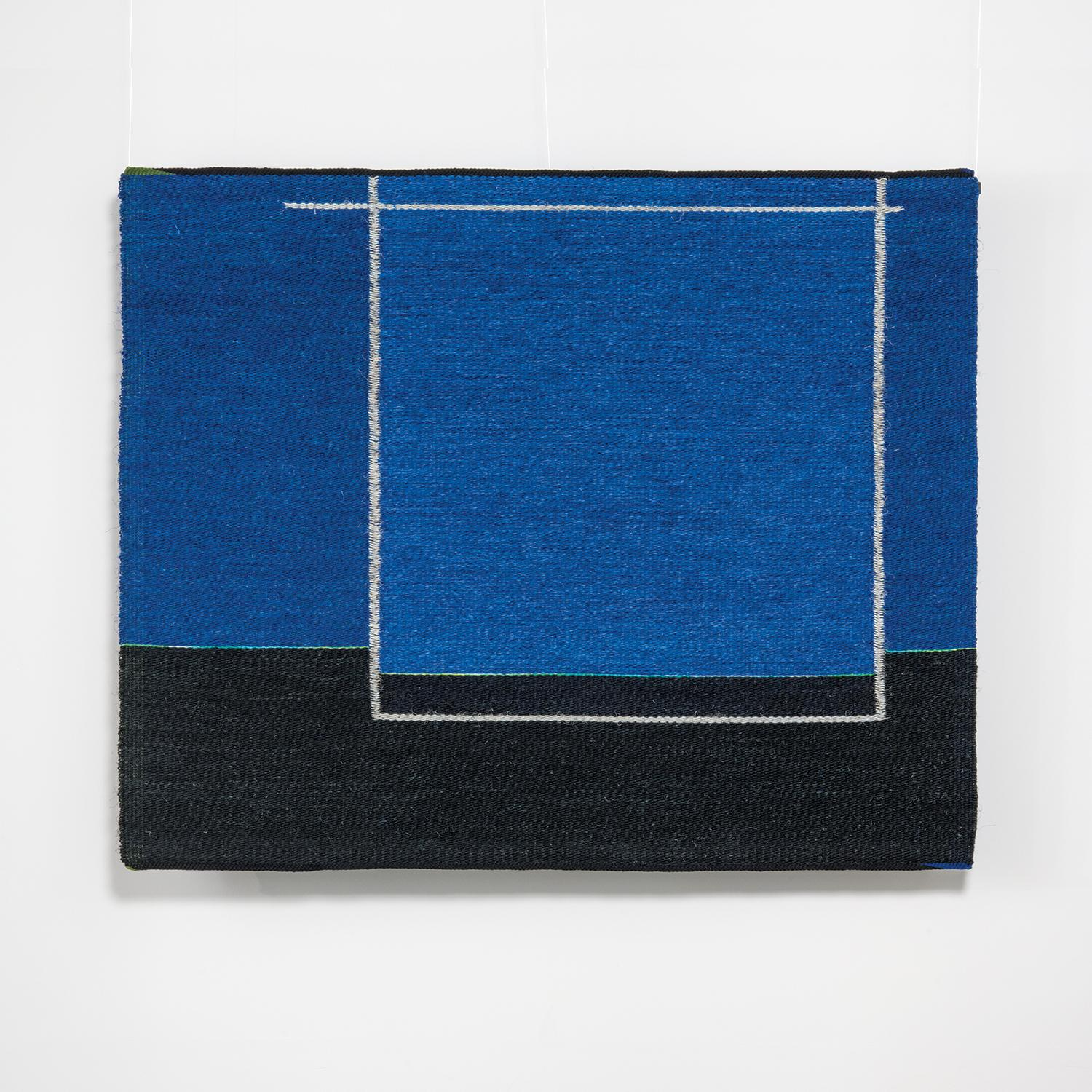 Thin Green Horizon, Contemporary Geometric Tapestry by Gudrun Pagter