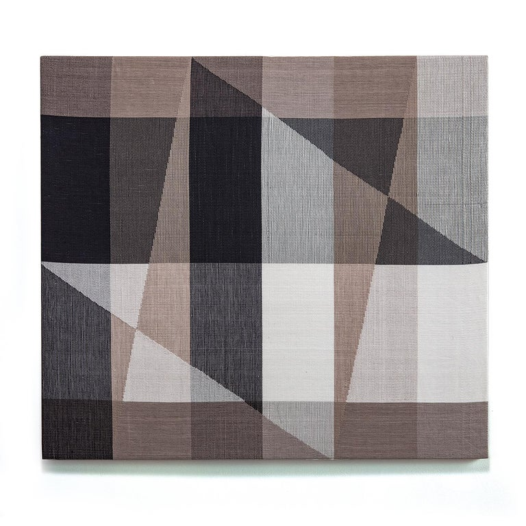 Ethel Stein Abstract Sculpture - Cityscape III, Contemporary Abstract Geometric Textile Wall Tapestry
