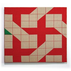 Touch of Green, Contemporary Abstract Geometric Textile Wall Tapestry