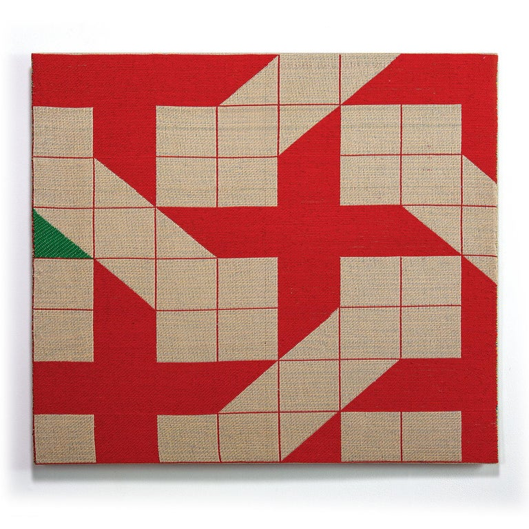 Ethel Stein Abstract Sculpture - Touch of Green, Contemporary Abstract Geometric Textile Wall Tapestry