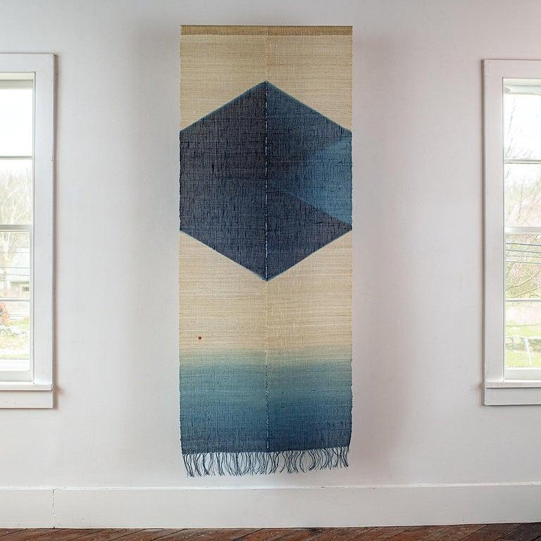 "Shindigo Space II, linen, handspun and handwoven, indigo dye 84"" x 33"", 1998.   This Japanese woven textile wall hanging was done by Japanese fiber artist, HiroyukiShindo (b. 1941 Tokyo, Japan). He is one of the world's pre-eminent indigo artists,"