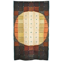 Circle, Mid-Century Modern Woven Tapestry, Abstract Textile Wall Sculpture