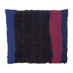 Black No II Blue, Red, Hand-Woven Tapestry, Textile Wall Sculpture