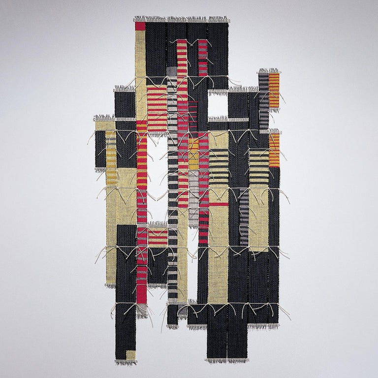 "Blair Tate Abstract Sculpture - ""Jaiselmer"", Contemporary abstract woven tapestry, geometric textile sculpture"