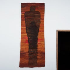 """Traces"" Mid Century Woven Polish Tapestry, Figurative Textile Wall Sculpture"