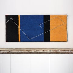 """Yellow, Blue and Black"" Contemporary Geometric Tapestry, Textile Wall Hanging"