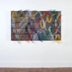 """Vibrant Conversation"", Contemporary Abstract Textile Wall Sculpture"