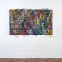 """Vibrant Conversation"", Contemporary Abstract Textile Wall Sculpture"