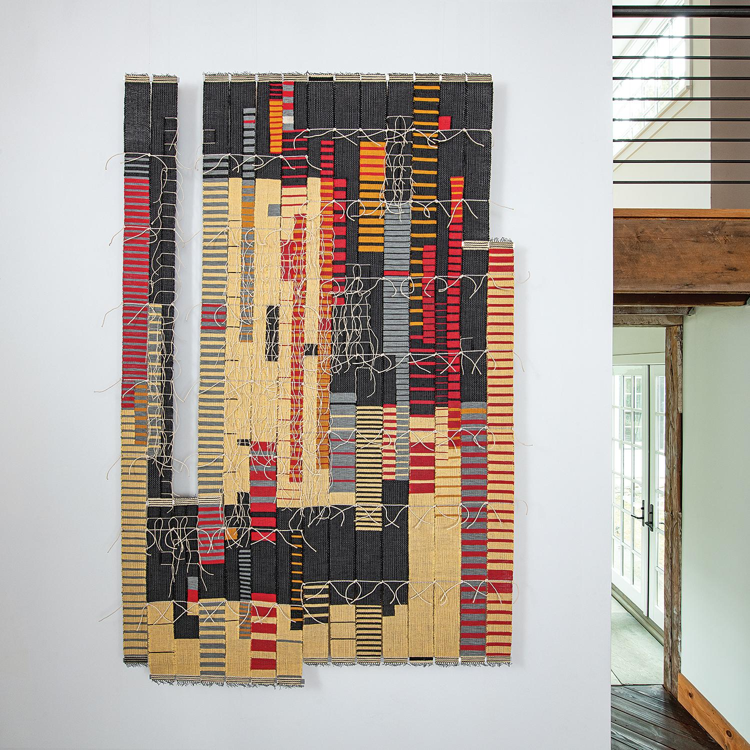 """Rift"", Contemporary abstract woven tapestry, geometric textile sculpture"