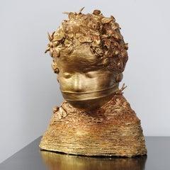"""The Golden Child"" contemporary mixed media textile sculpture"