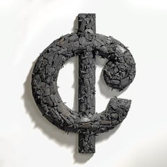 """Nonsense"" Gyöngy Laky, Contemporary wall sculpture, US Cent Symbol"