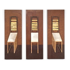 """Three Chairs"" Mixed Media Triptych, Modern Textile Wall Hangings"