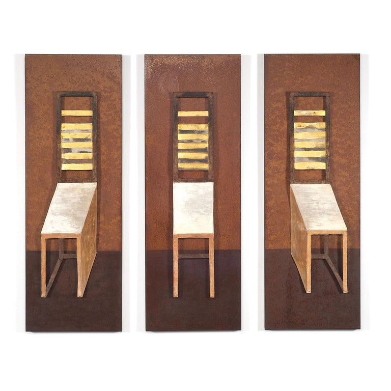 """Three Chairs"" Mixed Media Triptych, Modern Textile Wall Hangings - Mixed Media Art by Jin-Sook So"