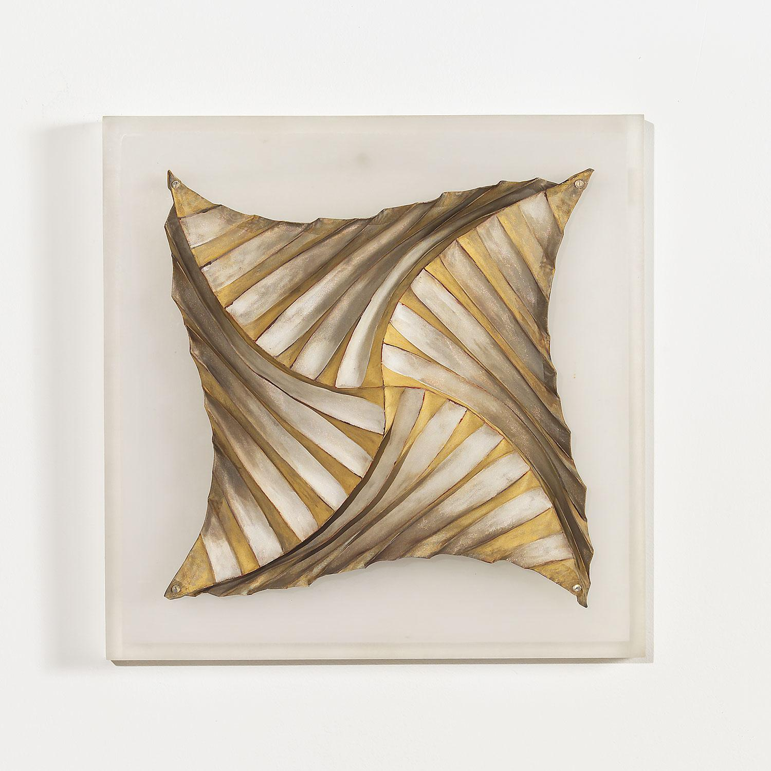 """""""Folded Form I"""" Abstract-Geometric Contemporary Korean Wall Sculpture"""
