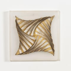 """Folded Form I"" Abstract-Geometric Contemporary Korean Wall Sculpture"