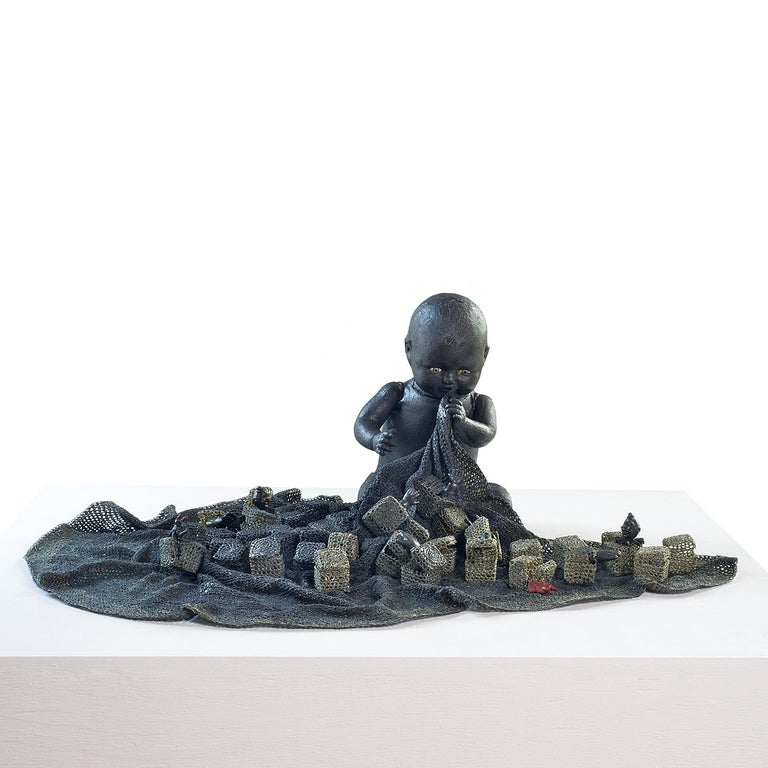 """""""Child of the Night"""" Norma Minkowitz, contemporary mixed media textile sculpture - Sculpture by Norma Minkowitz"""