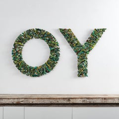 """Deviation (OY)"" Gyöngy Laky, Contemporary Mixed Media Textual Sculpture"
