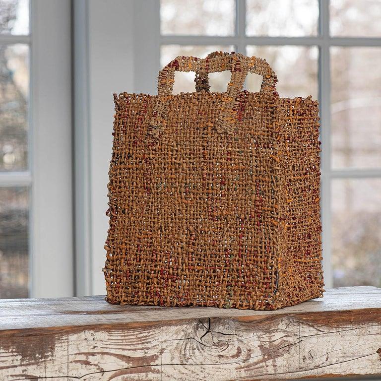 """Shop"" James Bassler, Contemporary Woven Shopping Bag Sculpture - Mixed Media Art by James Bassler"