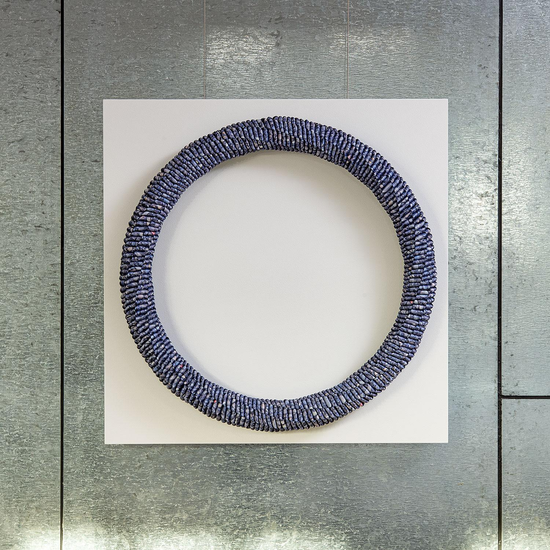 """Small Stone"" Keiji Nio, Contemporary Braided Textile Wall Sculpture"