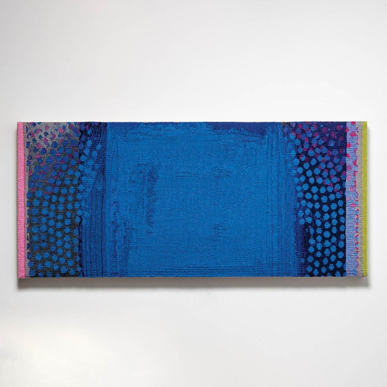 """Cobalt Haze"", Jo Barker, Colorful Contemporary Woven Tapestry - Sculpture by Jo Barker"