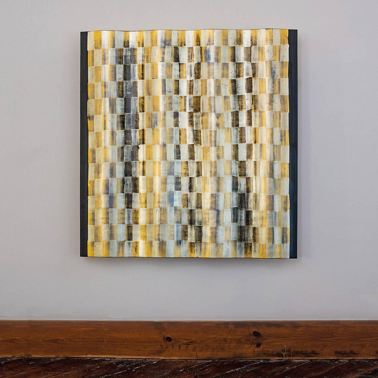 Zuni, Agneta Hobin, golf leaf and wood geometric wall sculpture - Mixed Media Art by Agneta Hobin