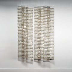 En Face, Mica and Steel Woven Wall Hanging and Installation, Agneta Hobin