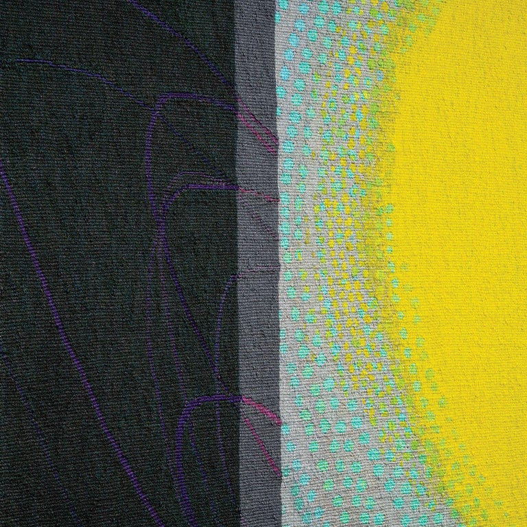 Lime Glow, Jo Barker, Colorful Contemporary Woven Tapestry - Gray Abstract Sculpture by Jo Barker