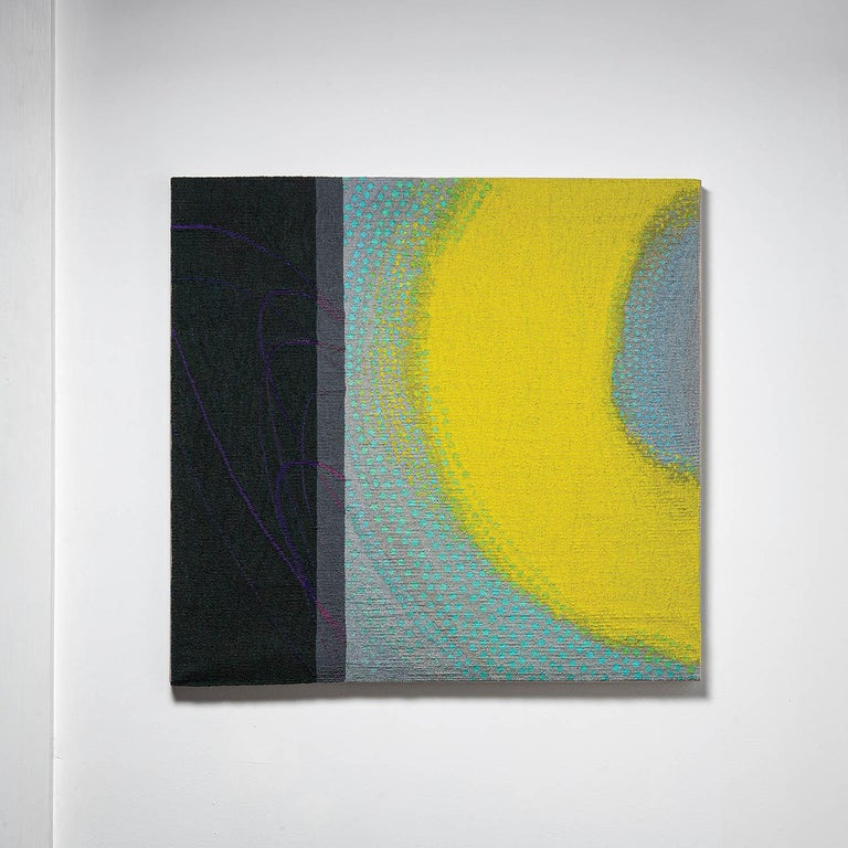 Lime Glow, Jo Barker, Colorful Contemporary Woven Tapestry - Abstract Sculpture by Jo Barker