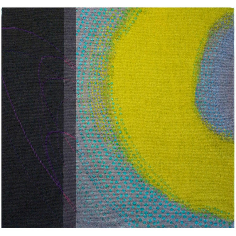 Lime Glow, Jo Barker, Colorful Contemporary Woven Tapestry - Sculpture by Jo Barker